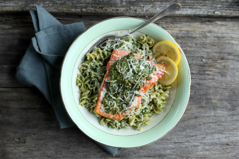 Salmon with Spinach and Basil Pesto Pasta